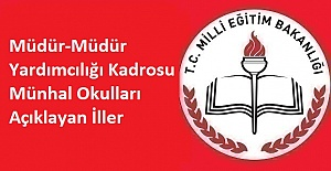 Müdür-Müdür Yardımcılığı Kadrosu Münhal Okulları Açıklayan İller - 7 İL